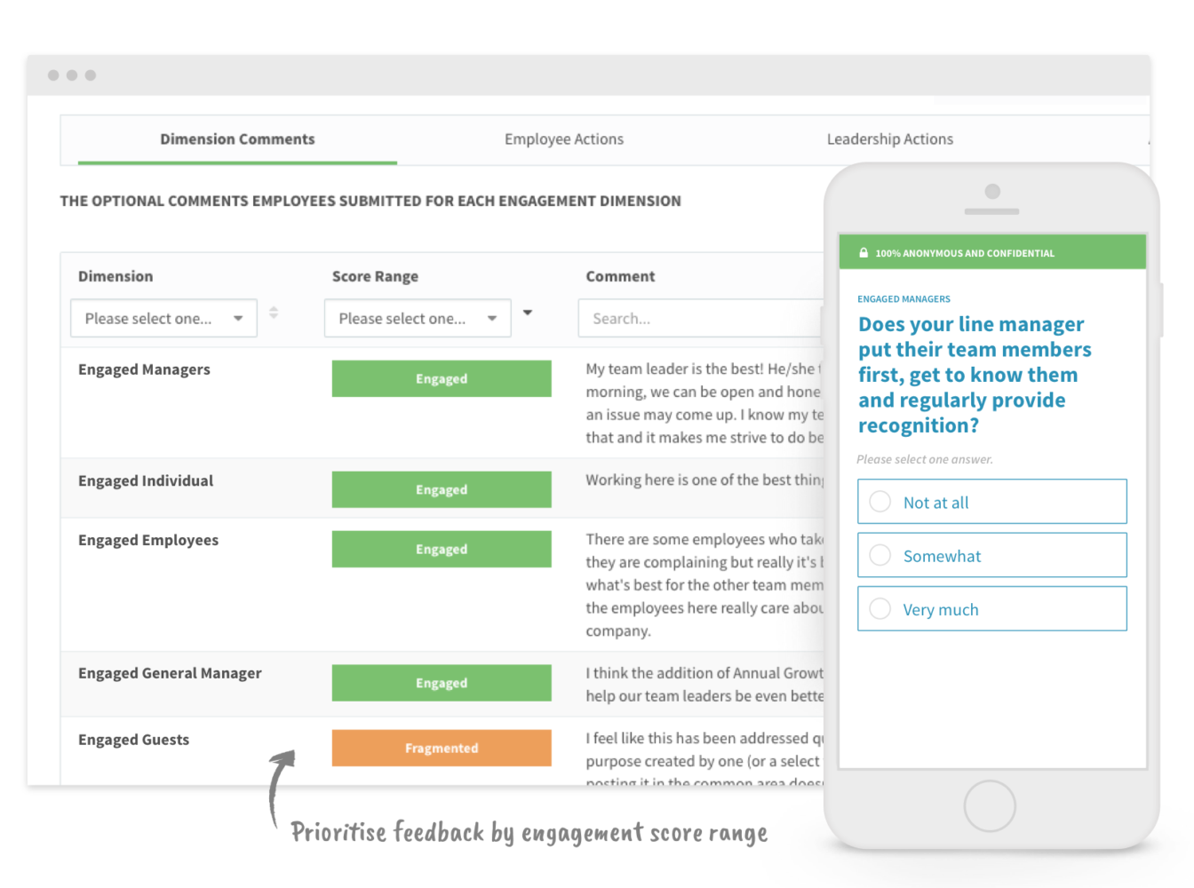 Feedback by engagement score range